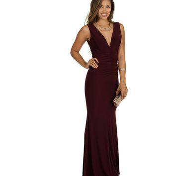 Alaina- Eggplant Prom Dress