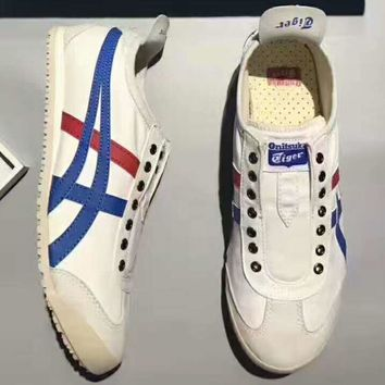 asics onitsuka tiger mexico trending fashion women casual sports shoes white blue g psxy  number 1