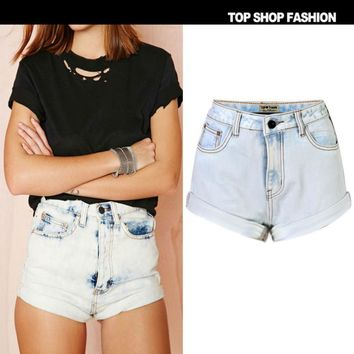 Fashion Sexy roll side wear high waist shorts cowboy hot pants