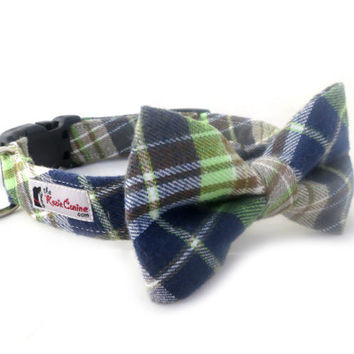 Blue, Green and Tan Flannel Plaid Dog Collar (Collar Only - Matching Bow Tie Available Separately for Wedding or Special Occasion)