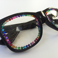 Rave light show glasses black with rainbow by candycoatedlove