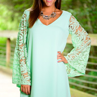 Free Flow Lace Dress, Mint