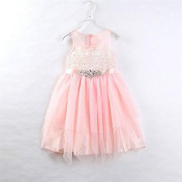 Cute Girls Pink Ball Gown Dresses Kids Baby Mesh Tutu Dress Princess Sequin Party Birthday Pageant Children Dress Clothing