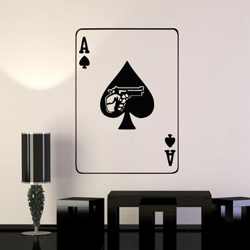 Wall Stickers Vinyl Decal Playing Card Poker Gambling Mafia Weapons Unique Gift (ig731)
