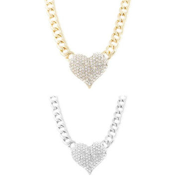Goldtone and Silvertone with Clear Iced Out Heart Pendant Necklace Jewelry Set