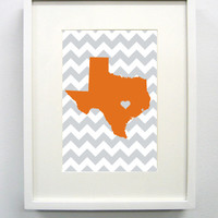 Austin, Texas State Giclée Print- 8x10 - Orange and White University Print - Original and Unique Graduation Gift