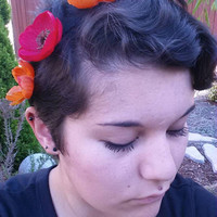 Orange and red flower crown headband