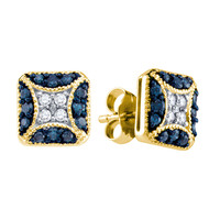 Blue Diamond Fashion Earrings in 10k Gold 0.5 ctw