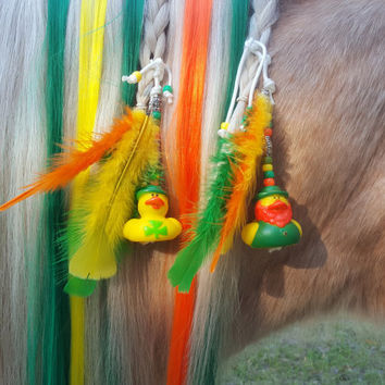 Rubber Ducky Equine Mane Dangler for St. Patrick's Day -- Mane Decoration for Horses