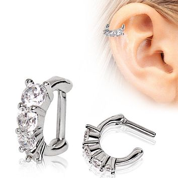 316L Stainless Steel Cascading CZ WildKlass Cartilage Clicker Earring