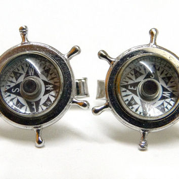 Nautical compass cuff links. Sterling silver. His Lordship. Groom gift.  Vintage with orig box