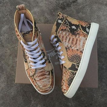 DCCK Cl Christian Louboutin Python Style #2257 Sneakers Fashion Shoes