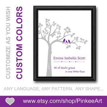 all of gods grace new baby announcement baptism baby gift birth date print bible quotes birds in a tree nursery birth art custom birth stats