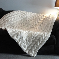 Chunky Hand Knit Cable Afghan / Throw / Blanket - Irish Knit Style - Ivory