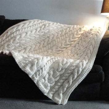 Shop Cable Knit Blanket On Wanelo