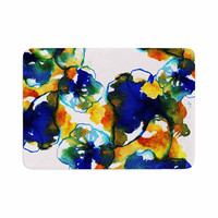 "Sonal Nathwani ""Blue Orange Floral"" Abstract Watercolor Memory Foam Bath Mat"