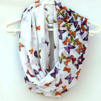 Butterflies Scarf. Infinity Scarf. Women Accessories. Loop Scarf, Tube Scarf