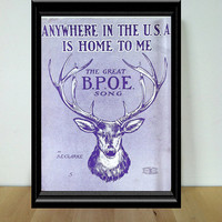 Anywhere in the U.S.A. is Home to Me - The Great B.P.O.E. Song, Sheet Music {1910} Vintage Paper Ephemera