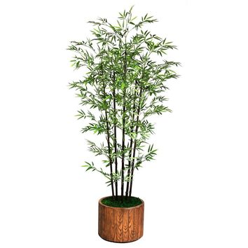"77"" Artificial Black Bamboo Tree in 12.8"" Wood-like Fiberstone Planter"