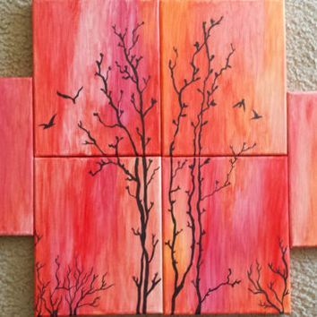 Sunset Dusk Evening Birds Tree Landscape Original Acrylic Painting Free Shipping Wall Decor 6 Canvases - Orange Red Pink Black