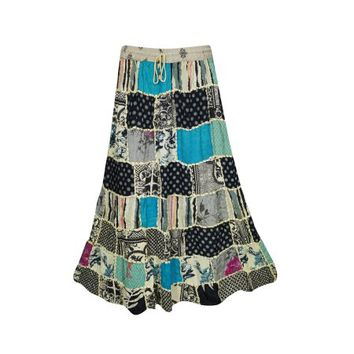 Mogul Womens Indian Vintage Patchwork Long Skirt Printed A-Line Gujarati Dori Gypsy Hippie Chic Skirts - Walmart.com