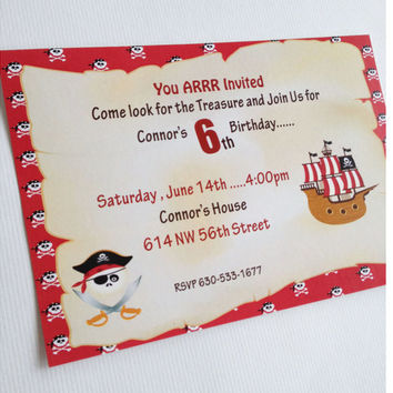 Boy Pirate Party Pirate Birthday Invitation Boy Birthday Pirate Invitation Red Boy Pirate Birthday Custom Pirate Invitation