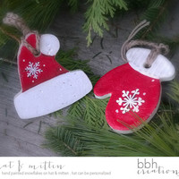 Red Hat and Mitten Christmas Tree Decorations Personalize Hat Ornament Handmade with Salt Dough