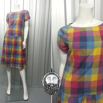 80s Checked Multicoloured Gingham Drop Waist Dress Multi Colored Short Sleeve Plaid Pattern Tartan Fabric Midi Length Tea dress Scooter Girl