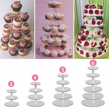 Transparent Acrylic Cake Stand Round Cup Cupcake Holder Wedding Birthday Party Events Dessert Display Stand 3/4/5/6 Tiers