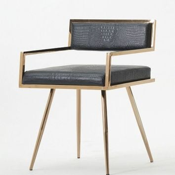 Modrest Rosario Modern Black & Rose Gold Dining Chair
