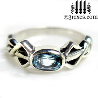 Pixie Friendship Ring Silver Celtic Knot Blue Topaz Stone Size 6