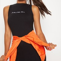 PRETTYLITTLETHING Black Embroidered Sleeveless Bodycon Dress