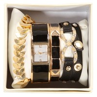 Black/Gold Lacquered Watch Set