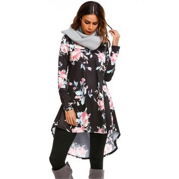 Long Sleeve Floral Loose High Low Hem Dress