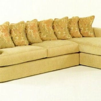 2 pc custom sectional with pillow back cushions and rolled arms