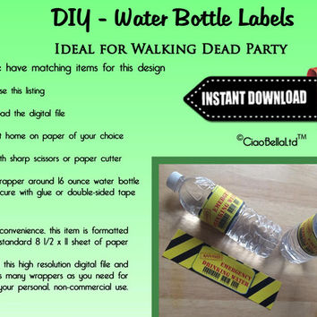 Printable Walking Dead Zombie Party Water Bottle Labels - INSTANT DIGITAL DOWNLOAD