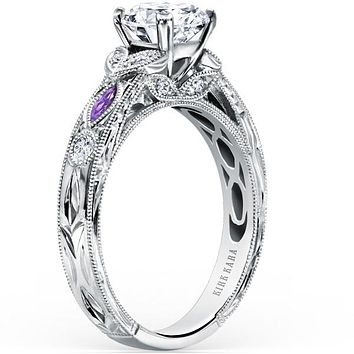 "Kirk Kara ""Dahlia"" Marquise Cut Purple Amethyst Diamond Engagement Ring"
