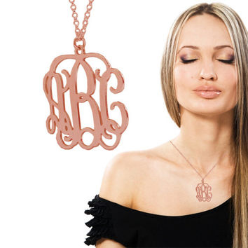 Monogram Necklace 1 1/4 Inch 0.7MM Thick Monogrammed Letters Pendant 1 2 3 Initials 18k Rose Red Gold Plated On Silver Custom Made Cut Out