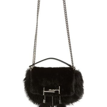 Tod's 'Mini Double T' Genuine Fox Fur & Genuine Mink Shoulder Bag | Nordstrom