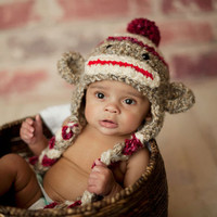 Sock Monkey Hat - Hand Crochet Unisex Baby or Toddler Beanie - Super Soft with Pom Pom in Oatmeal, Red and Cream