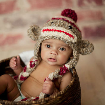 6b3d5e2039d Sock Monkey Hat - Hand Crochet Unisex Baby or Toddler Beanie - S