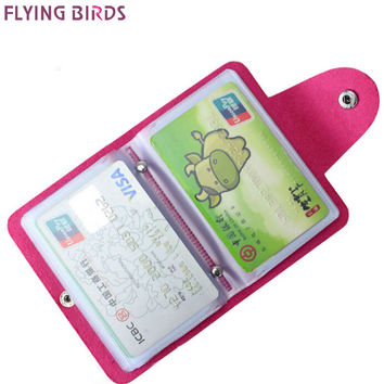 FLYING BIRDS Card Holder for men High Quality women&men card bags name ID Business Leather 24 Bank credit Card Case LM4055fb