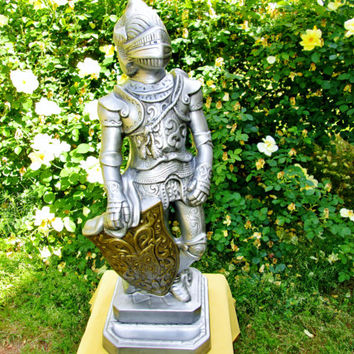 Large Medieval Knight Statue Vintage Chalkware Ceramic Figure Silver Knight Armor Gold Shield on Pedestal 2 Pc Sculpture Man Cave Home Decor