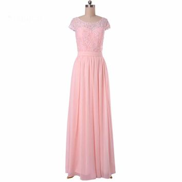 Long Chiffon A line Lace Cap sleeve Floor length Bridesmaid Dresses