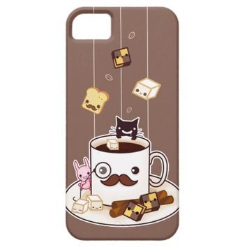 Cute mustache coffee mug with kawaii animals iPhone 5 covers