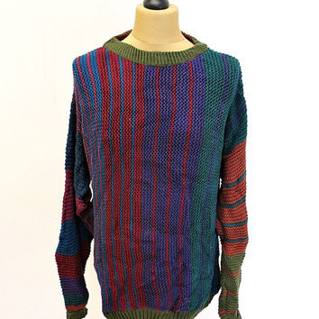 Vintage 90s Stripy Ralph Lauren Colourful Shaker Knit Jumper Sweater Large
