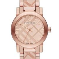 Women's Burberry Check Stamped Bracelet Watch, 26mm