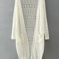 White Long Sleeve Cut-Out Knitted Cardigan with Pocket