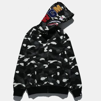 Bape Shark Fashion Cardigan Zipper Hoodie Jacket Coat
