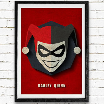 Harley Quinn Watercolor Art Print Batman Poster, DC Comics Superhero, Nursery Room Wall Art, Home Decor, Not Framed, Buy 2 Get 1 Free